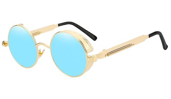 Round Vintage Sunglasses with Blue Lenses and Gold Frames