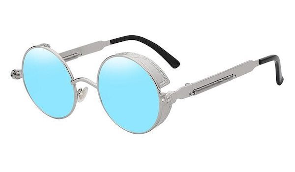 Turquoise Blue Round Mirror Sunglasses For Men