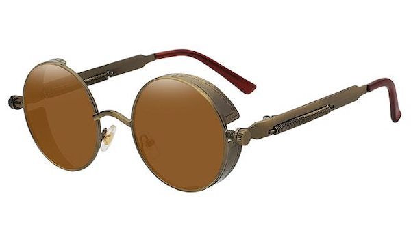 Round Brown Vintage Sunglasses For Men
