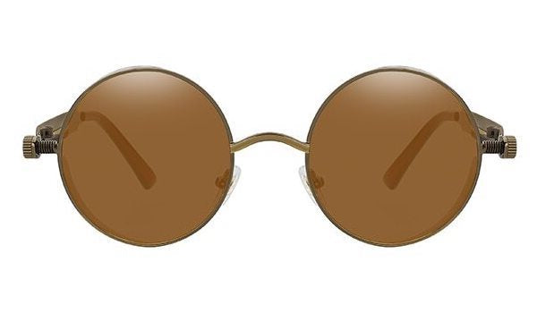 Classy Men Brown Round Vintage Sunglasses