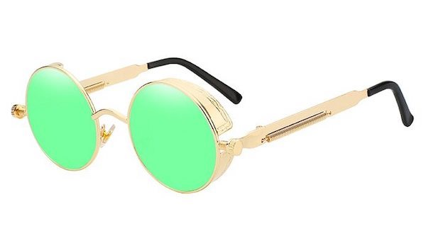 Round Vintage Sunglasses with Green Mirror Lenses