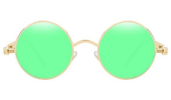 Classy Men Green Round Vintage Sunglasses