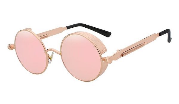 Men's Round Rose Gold Sunglasses With Mirror Lenses