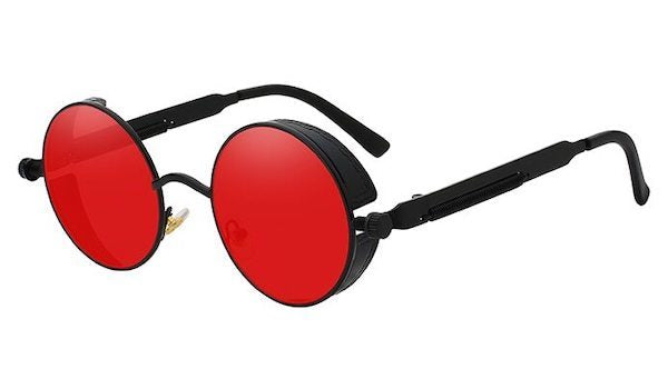 Round Vintage Glasses With Red Transparent Lenses & Black Frames