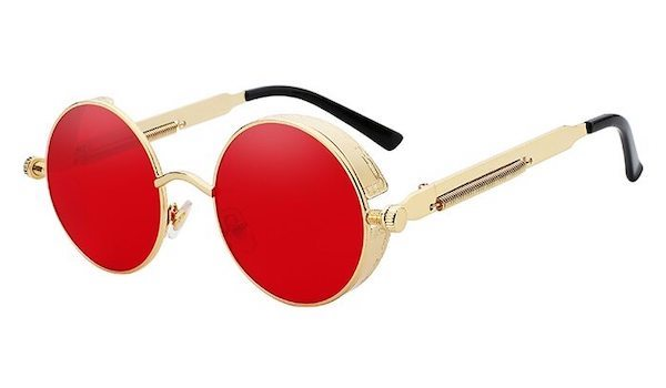 Round Vintage Glasses With Red Transparent Lenses & Gold Frames