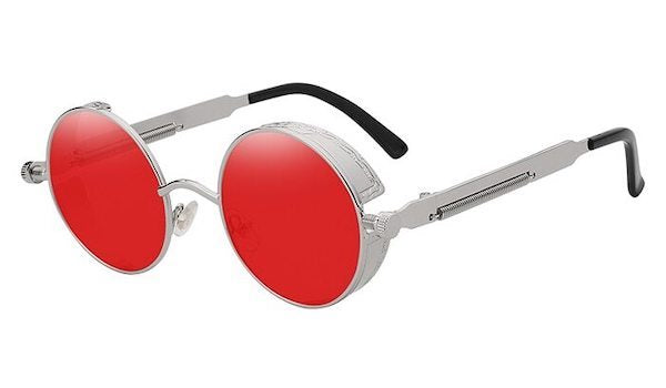 Round Vintage Glasses With Red Transparent Lenses & Silver Frames