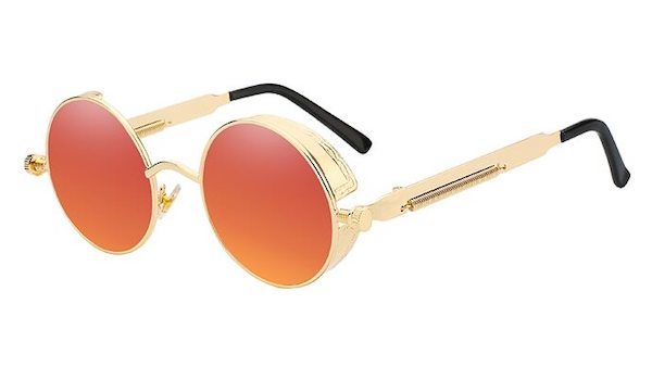 Round Vintage Sunglasses With Red Mirror Lenses & Gold Frames