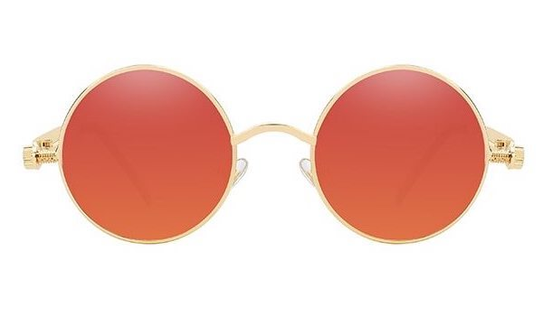 Classy Men Red Gold Round Vintage Sunglasses