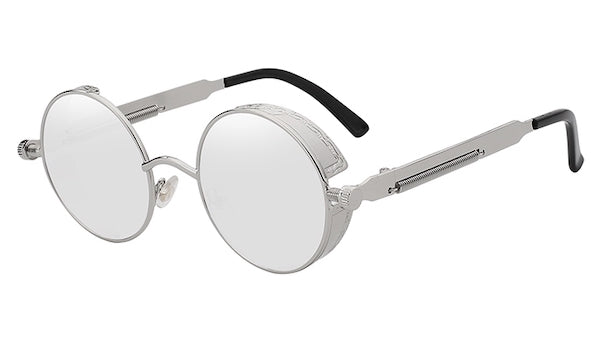 Round Silver Mirror Vintage Sunglasses For Men