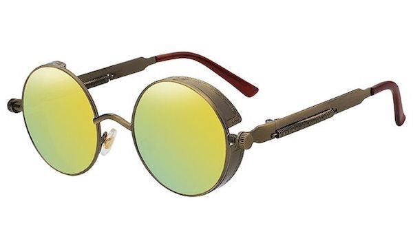 Round Yellow Mirror Sunglasses For Men