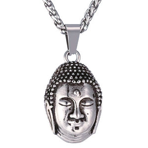 Mens silver Buddha pendant necklace