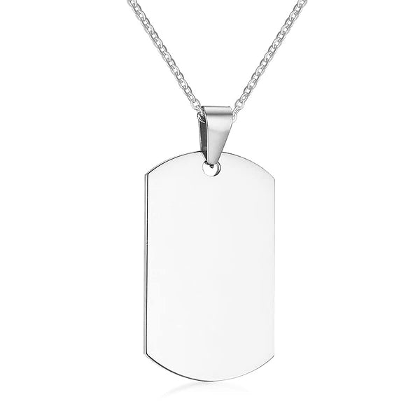 Mens silver stainless steel dog tag necklace chain