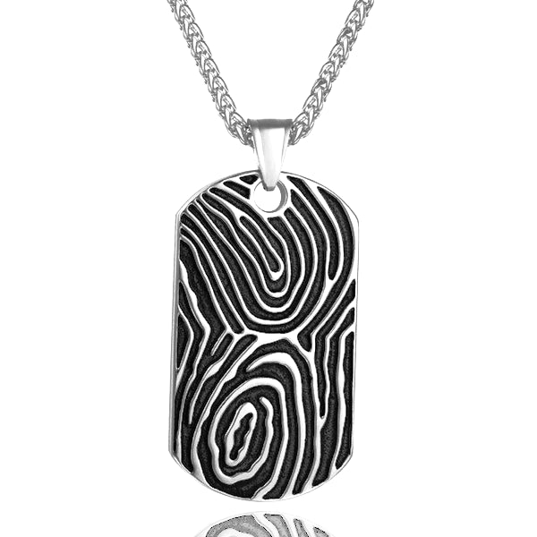 Classy Men Silver Fingerprint Dog Tag Pendant Necklace