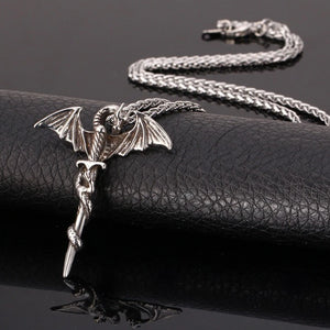 Mens silver dragon sword pendant necklace