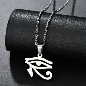 Silver Egyptian eye pendant necklace displayed