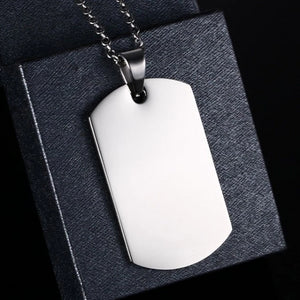 Stainless steel dog tag necklace with chain and pendant