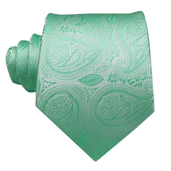Mint green floral paisley necktie made of silk