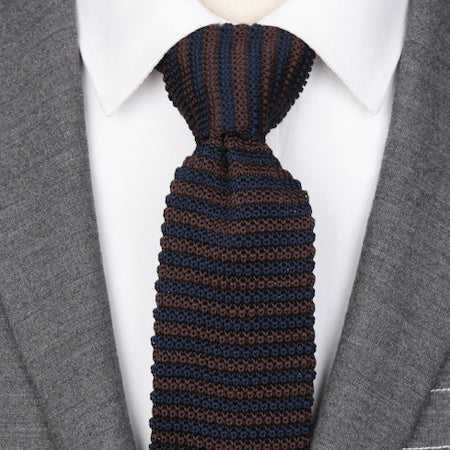 Classy Men Navy Blue Brown Knitted Tie