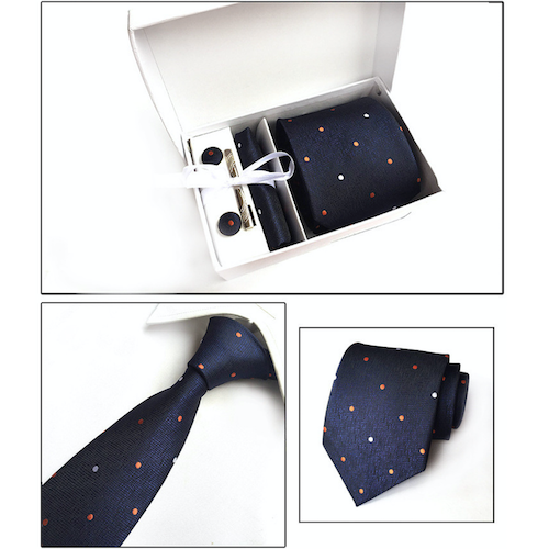 Navy Blue Dotted Suit Accessories Set for Men Including A Necktie, Tie Clip, Cufflinks & Pocket Square