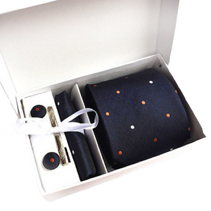Navy Blue Dotted Suit Accessories Set With Necktie, Tie Clip, Cufflinks & Pocket Square