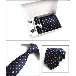 Navy Blue And Orange Floral Suit Accessories Set for Men Including A Necktie, Tie Clip, Cufflinks & Pocket Square