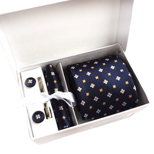 Navy Blue And Orange Floral Suit Accessories Set With Necktie, Tie Clip, Cufflinks & Pocket Square