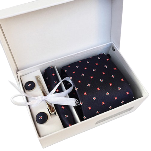 Navy Blue And Red Floral Suit Accessories Set With Necktie, Tie Clip, Cufflinks & Pocket Square
