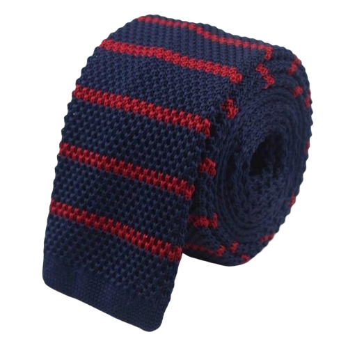 Classy Men Navy Blue Red Striped Square Knit Tie