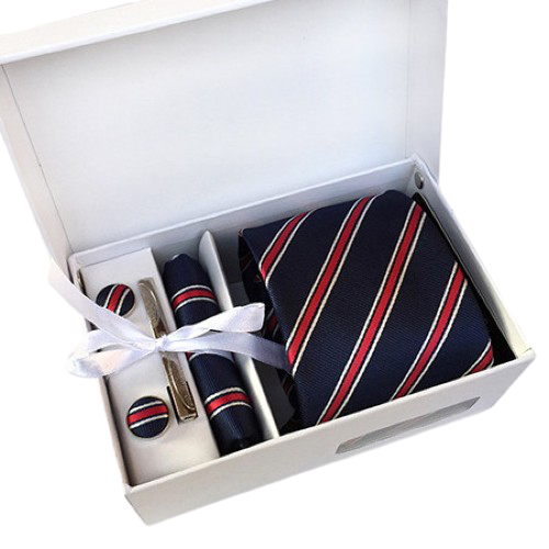 Blue & Red Striped Suit Accessories Set With Necktie, Tie Clip, Cufflinks & Pocket Square