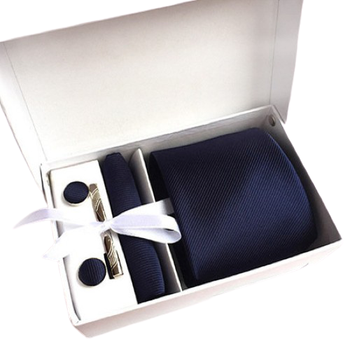 Navy Blue Suit Accessories Set With Necktie, Tie Clip, Cufflinks & Pocket Square