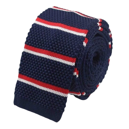 Classy Men Dark Blue Red Striped Square Knit Tie