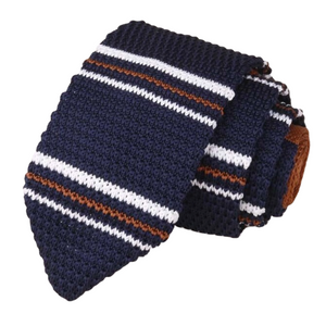 Classy Men Navy Blue Brown Striped Knitted Tie