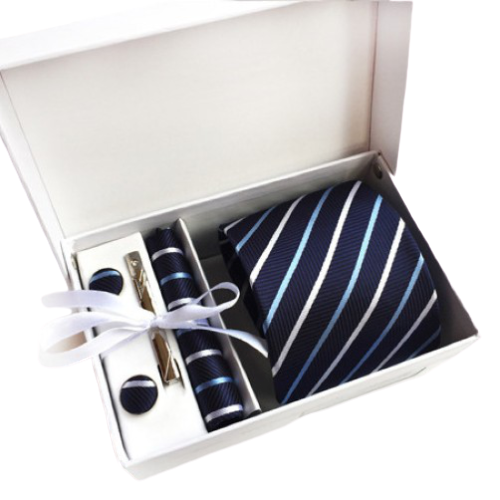 Navy Blue Striped Suit Accessories Set With Necktie, Tie Clip, Cufflinks & Pocket Square