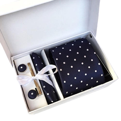Navy Blue And White Polka Dot Suit Accessories Set With Necktie, Tie Clip, Cufflinks & Pocket Square