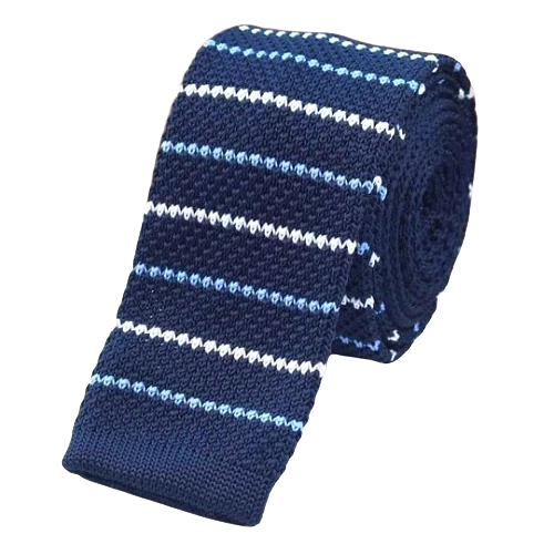 Classy Men Blue Thin Striped Square Knit Tie