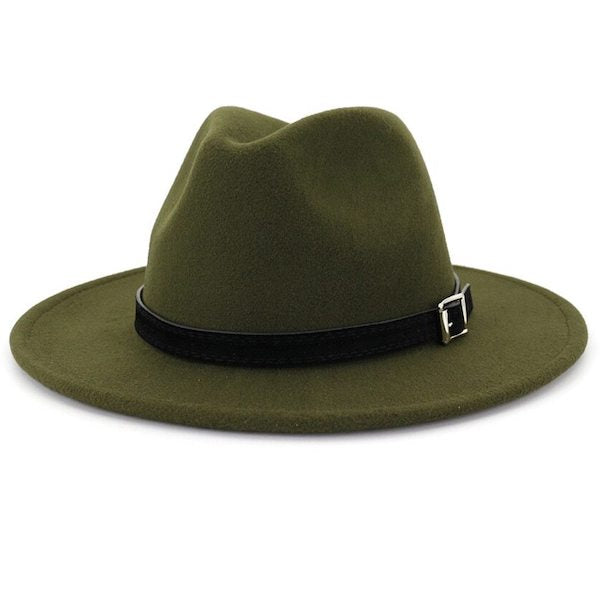 Classic olive green fedora hat for men