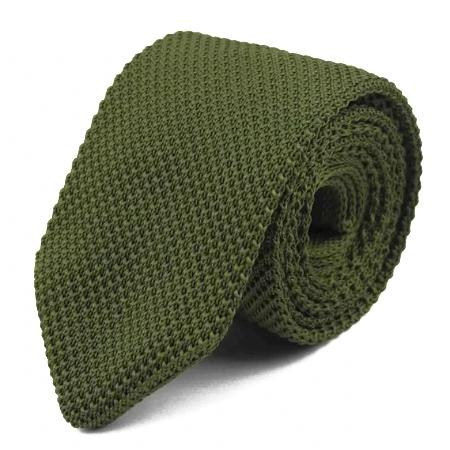 Olive green knitted tie for men