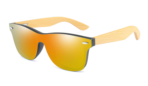 Mens bamboo wood sunglasses with flat orange mirror lens