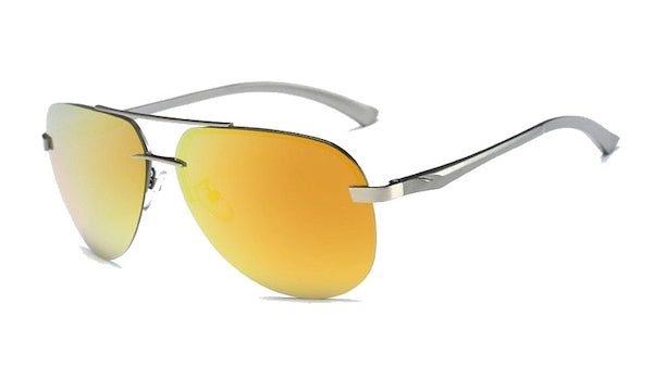 Classy Men Rimless Orange Aviator Sunglasses