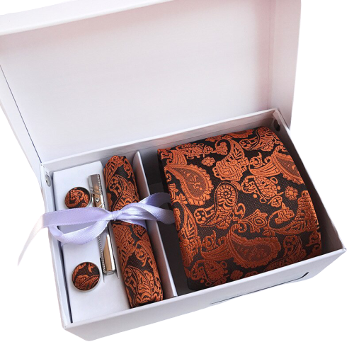 Orange Paisley Suit Accessories Set With Necktie, Tie Clip, Cufflinks & Pocket Square