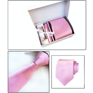 Pink Striped Suit Accessories Set for Men Including A Necktie, Tie Clip, Cufflinks & Pocket Square