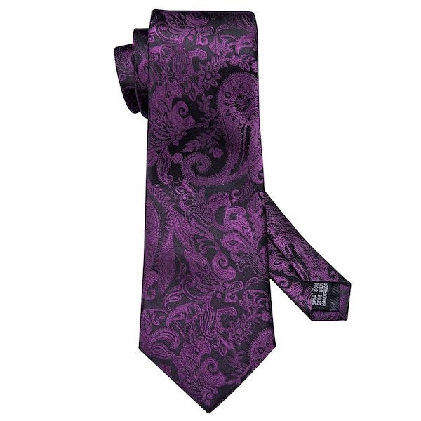 Purple and black silk necktie with paisley floral pattern