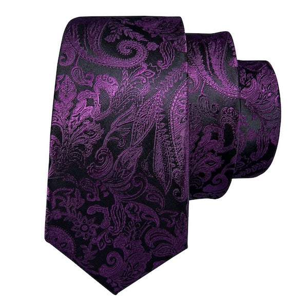 Purple and black silk tie with paisley floral pattern