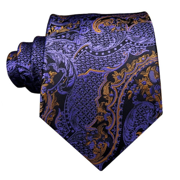 Purple and gold floral silk tie