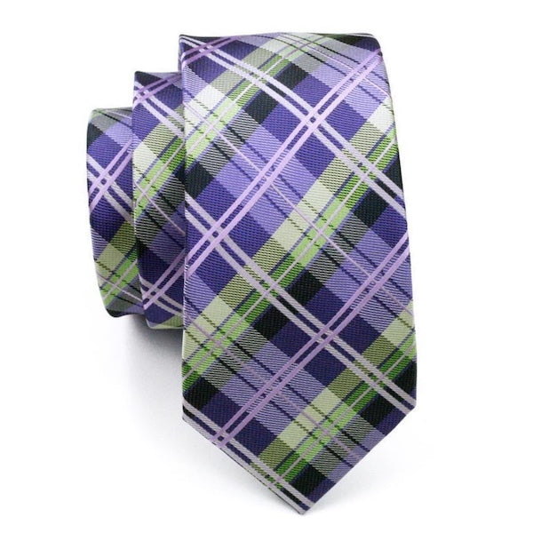 Violet and green tartan check silk tie