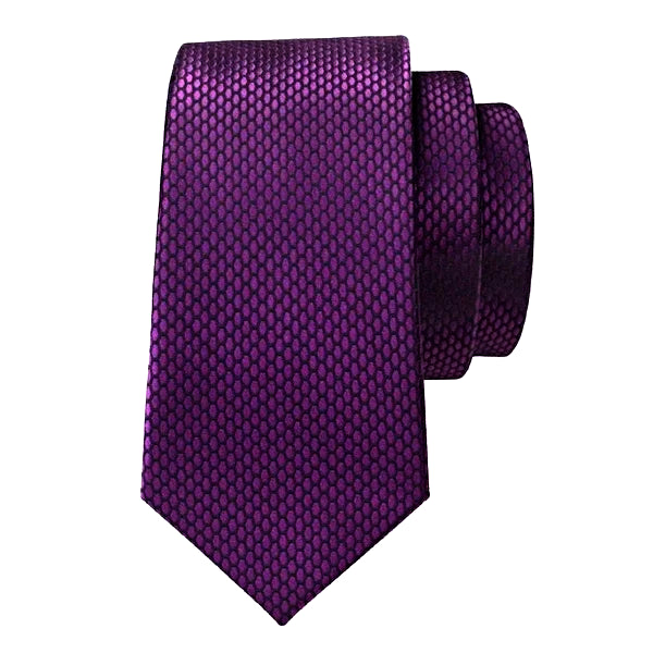 Purple silk tie with honeycomb pattern