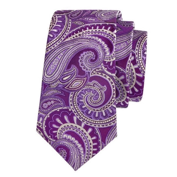 Purple silk tie with ivory white paisley pattern