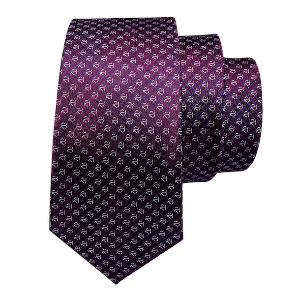 Purple silk tie with link pattern