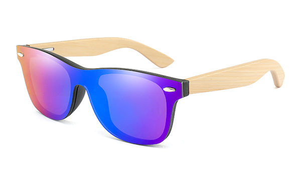 Mens bamboo wood sunglasses with flat purple mirror lens