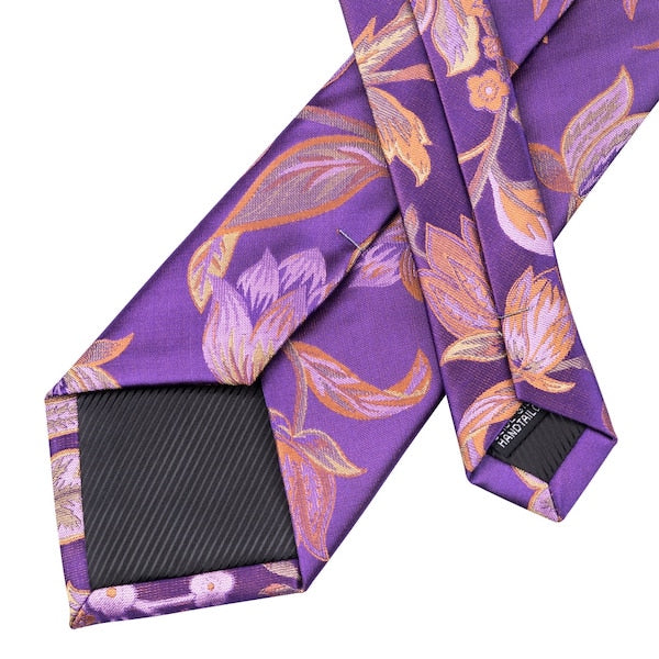 Classy Men Purple Orange Floral Silk Tie